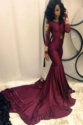 Chicloth Gold Appliques Burgundy Mermaid Evening Dress High Neck Long Sleeves 2019 Prom Dresses qq0103_1