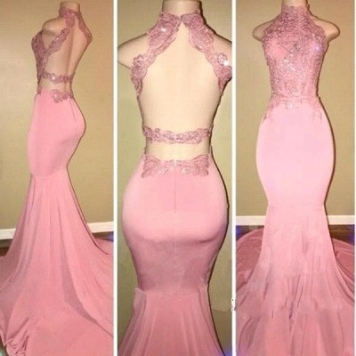 Chicloth Pink High-Neck Mermaid Open-Back Long Prom Dresses_2