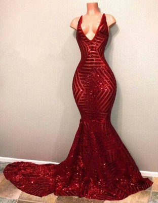 Chicloth Red Sequins Shiny V-Neck Mermaid Long Prom Dresses_3
