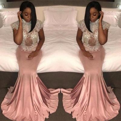 Chicloth Pretty Cap-Sleeve Crystal Mermaid High-Neck Prom Dress_2