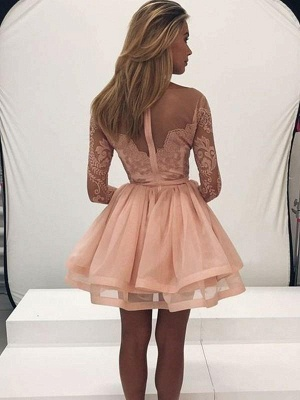 Chicloth A-Line Long Sleeves Scoop Organza With Applique Short/Mini Dresses_2