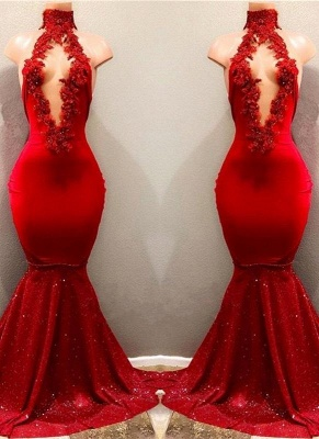 Chicloth Shiny Red Mermaid Prom Dresses High Keyhole Neckline Evening Gowns_2
