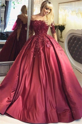 Chicloth Burgundy Off-the-Shoulder Long-Sleeves Crystal Appliques Ball Prom Dresses_1