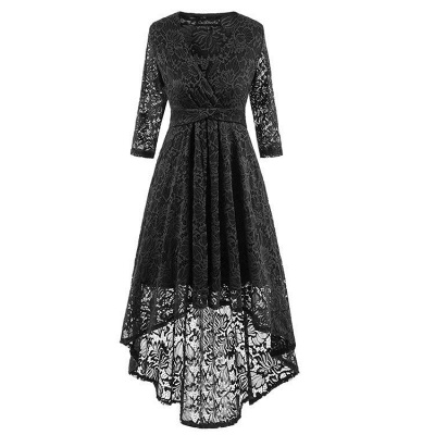 A| Chicloth Burgundy Half Sleeve Women Vintage Lace Dress_5