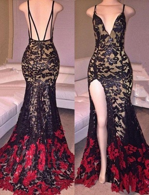 Chicloth Black Red Lace Spaghettis-Straps Side-Slit Mermaid Prom Dresses_2