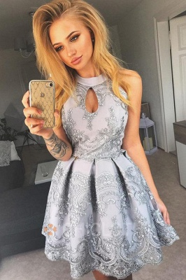 A-Line Jewel Grey Cut Out Lace Satin Short Homecoming Party Dress_1