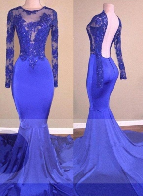 A| Chicloth Sexy Backless Royal-Blue Long-Sleeves Beaded Mermaid Prom Dresses_2