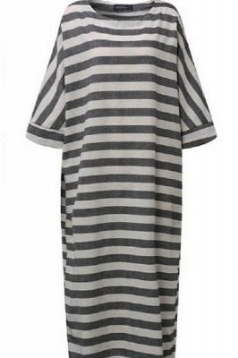 A Chicloth New Fashion Women Casual Loose Dress Striped Cotton Long Dress_4