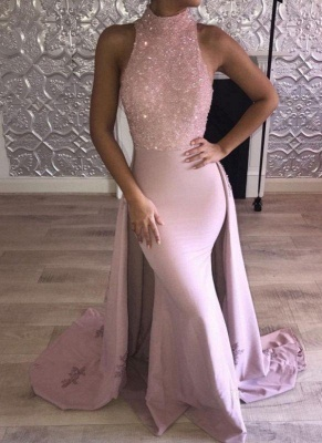 Chicloth Glittering Pink Mermaid Prom Dresses | High Neck Evening Gown with Overskirt_2