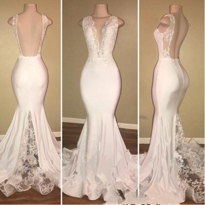 Chicloth Elegant Long Mermaid Prom Dresses | V-Neck Backless Lace Evening Gowns_2