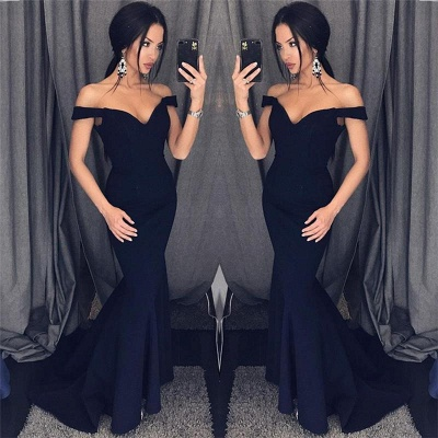 Chicloth Sexy Mermaid Evening Dresses Off-the-Shoulder V-Neck Long Prom Dresses_2