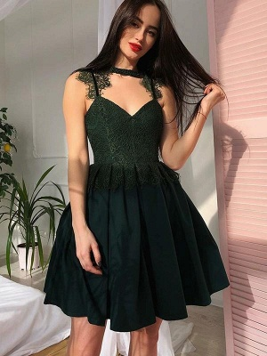 Chicloth A-Line V-Neck Lace Sleeveless Satin With Ruched Short/Mini Dresses_1