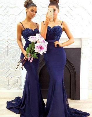 Chicloth Elegant Dark Navy Bridesmaid Dresses   Spaghettis Straps Lace Prom Dresses_3