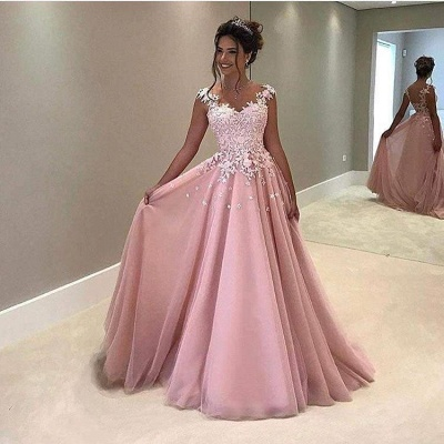 Chicloth Gorgeous Pink Lace Appliques V-Neck A-Line Cap-Sleeves Prom Dress_2