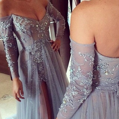 Chicloth Tiered Sexy Tulle Long Sleeve Evening Dresses Open Back Alluring Sweep Train Special Occassion Dresses_2