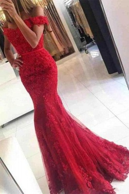 Chicloth Glamorous Off-the-shoulder Lace Appliques Red Mermaid Evening Dress_1