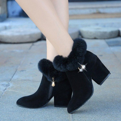 Suede Daily Zipper Chunky Heel Fur Pointed Boots_4