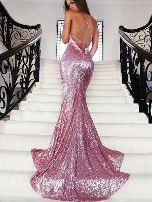 Chicloth Mermaid Sequins V-Neck Sleeveless Sweep/Brush Train With Ruffles Dresses_2