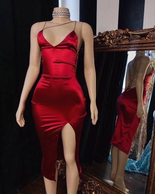 A| Chicloth Backless Burgundy  Neckline Prom Dresses_2