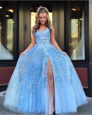 B  Chicloth Light Blue Floor Length Sleeveless Lace Prom Dresses_2