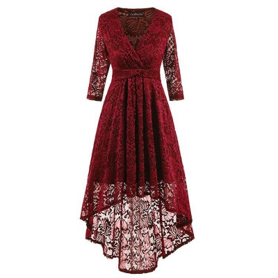 A| Chicloth Burgundy Half Sleeve Women Vintage Lace Dress_4