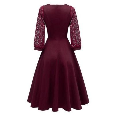 A| Chicloth Burgundy A-line Half Sleeve Lace Dress_3