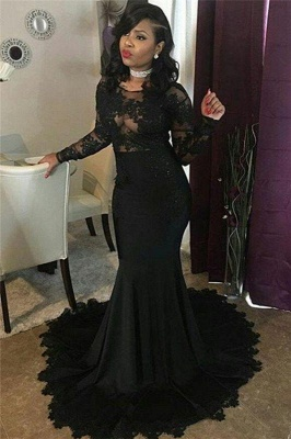 Chicloth Sexy Black Lace Tulle Prom Dresses | Mermaid Long Sleeve Cheap Evening Gown 2019 FB0277_3
