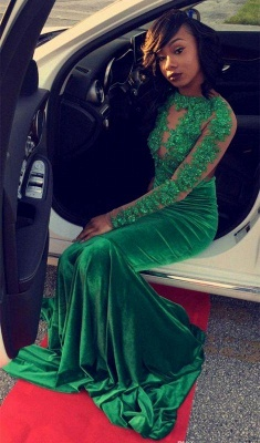 Chicloth Gorgeous Green Long-Sleeve Lace Appliques Split Mermaid Prom Dress_3