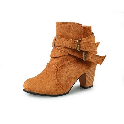 Suede Buckle Chunky Heel Daily Elegant Round Boots_5