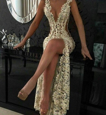 Chicloth Sexy Lace Evening Gowns 2019 Sleeveless Beading Split Popular Prom Dresses CE0061_2