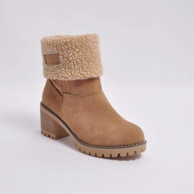 A  Chicloth Women's Winter Short Boots Round Toe Snow Boots_6