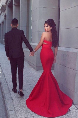 Chicloth New Arrival Sexy Mermaid Sweetheart Sleeveless Red Long Evening Dresses_2