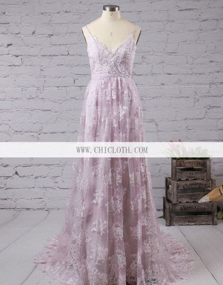 Chicloth A-Line Lace V-Neck Sleeveless Sweep/Brush Train With Applique Dresses_3