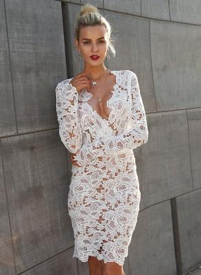 A| Chicloth Fashion V Neck Long Sleeve Lace Bodycon Midi Dress_5