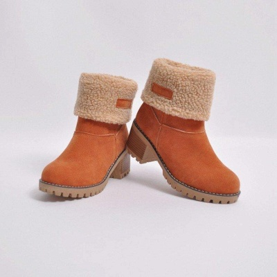 A| Chicloth Women's Winter Short Boots Round Toe Snow Boots_7