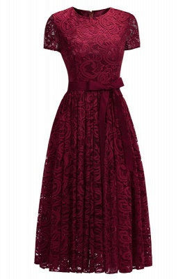 Chicloth Short Sleeves Seath Red Lace Dresses with Ribbon Bow_1