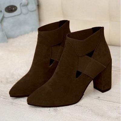 B| Chicloth Autumn Women Pointed Flock Boots_4