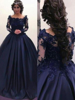 Chicloth Ball Gown Bateau Long Sleeves Sweep/Brush Train With Applique Satin Dresses_2