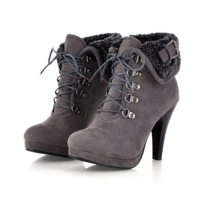 B| Chicloth Women High Heel Half Short Ankle Boots_5