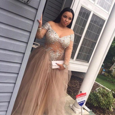 Chicloth Plus-Size Stunning Long-Sleeve Tulle Split Crystal Prom Dress_3