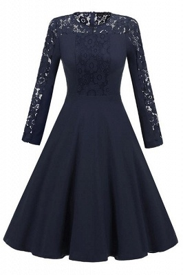 A| Chicloth Navy Blue Long Sleeve Round Neck Lace Dress_1