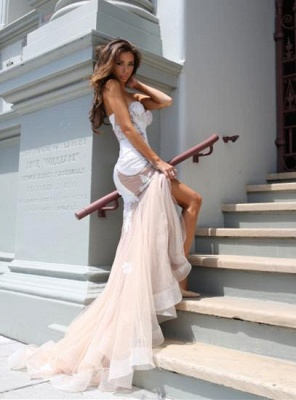 Chicloth Sexy Mermaid Sweetheart Tulle Long Evening Dress Lace Custom Made 2019 Evening Party Dresses_3