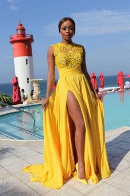 Chicloth Yellow Chiffon Side-Slit High-Neck Sleeveless Sexy Long Evening Dresses_1