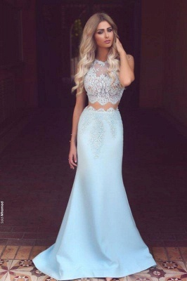 Chicloth New Arrival Two Pieces Mermaid Lace Applqiues Prom Dresses Sleeveless_1