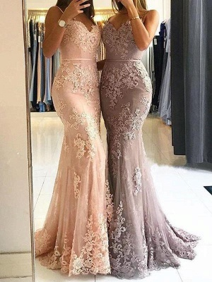 Chicloth Red Lace Appliques Prom Dress | 2019 Mermaid Formal Dress_6
