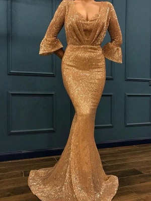 Chicloth Mermaid 3/4 Sleeves V-Neck Sweep/Brush Train With Ruffles Sequins Dresses_1