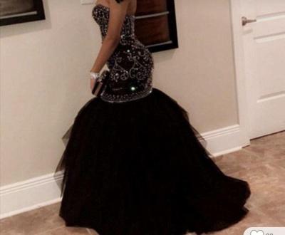 Chicloth Brilliant Sweetheart Beading Black Mermaid Prom Dresses_2