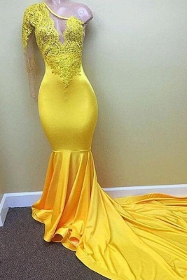 Chicloth Yellow one shoulder mermaid prom dress, lace evening dresses 2019_1