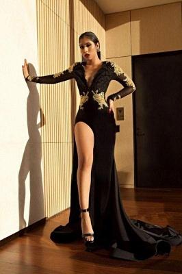 Chicloth Black Long Sleeve Prom Dress | 2019 Gold Appliques Mermaid Evening Dress_1