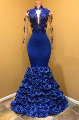 A| Chicloth Gorgeous Royal Blue Prom Dresses | Long Sleeves Evening Gowns with Rose Flowers_1